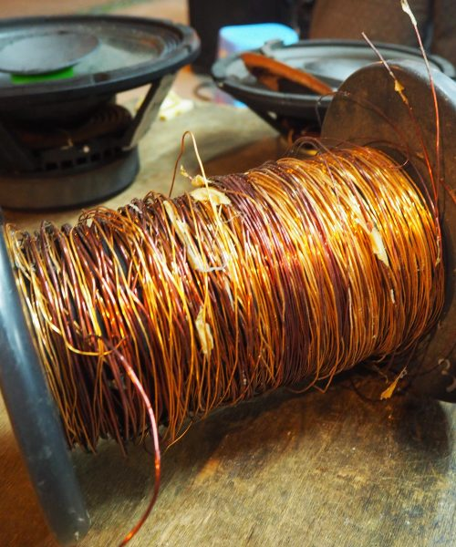 Ah Joon coils his own copper wire for extra audio power